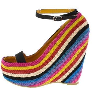 Shoes - New! Black Rainbow Open Toe Ankle Strap Wedge 10